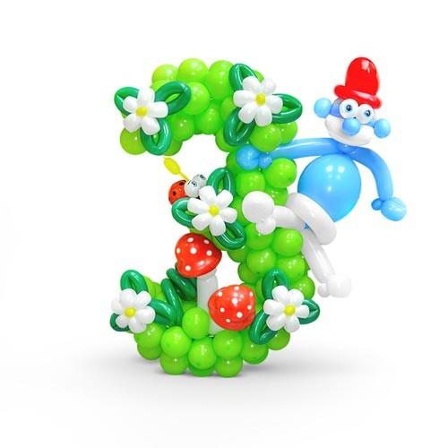 Цифра из латексных шаров с цветочками