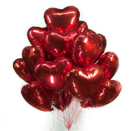 Фольгированные красные сердца с гелием
