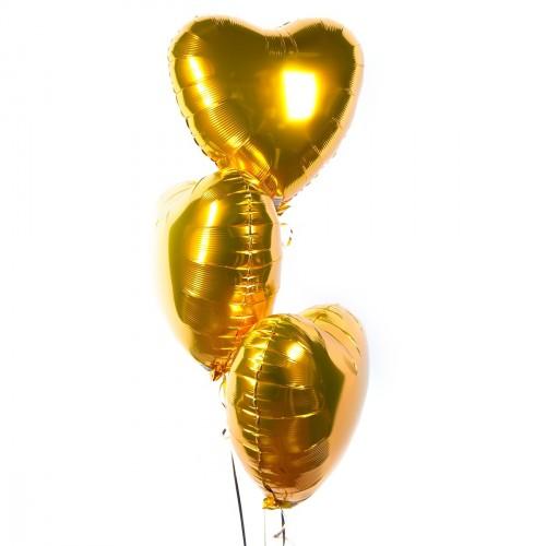 Фольгированные золотые сердца с гелием