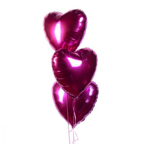 Фольгированные сердца с гелием (Фуксия)