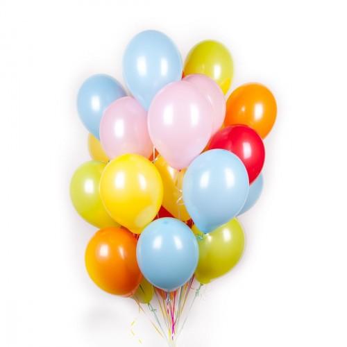 Разноцветные шарики пастель с гелием.