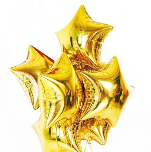 Фольгированные золотые звёзды с гелием