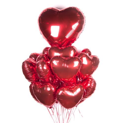 Фольгированные сердечки с большим сердцем