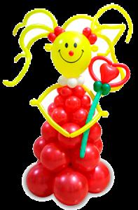 Фигура из шаров Девочка улыбка с 1 воздушным цветком