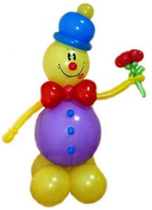 """Фигура из шаров """"Клоун с 1 воздушным цветком"""""""