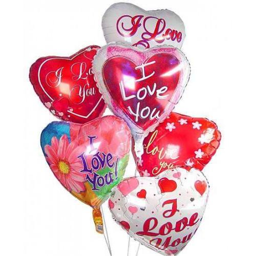 """Фольгированные сердечки с рисунком """" I love you"""""""