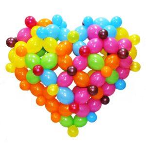 Сердце 3D малое из воздушных шаров на жестком каркасе.