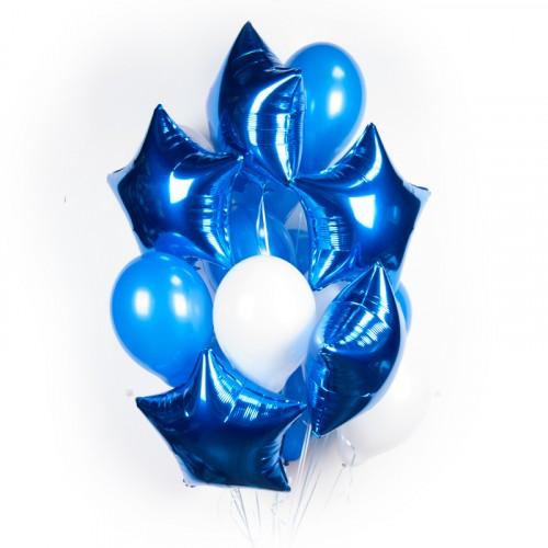 Шары с гелием - бело-синих шариков с синими звездами