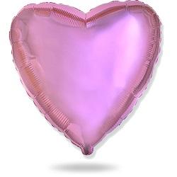 Фольгированный шар сердце светло-розовое металлик