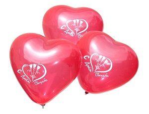 """Латексные шары с рисунком в форме сердца кристалл """"С днем свадьбы"""""""