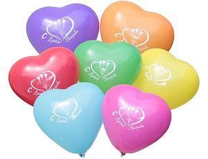 """Латексные шары с рисунком в форме сердца """"С днем свадьбы"""""""