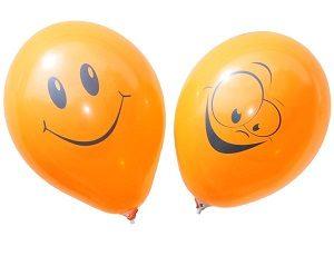 """Шары круглые с рисунком - Улыбка пастель оранжевый 12"""""""