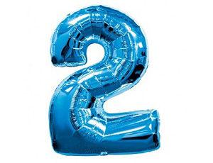 Фольгированный шар цифра два (синий)