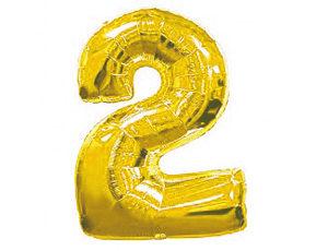 Фольгированный шар цифра два (золото)