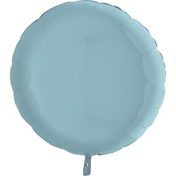 Фольгированный шар круг голубой пастель