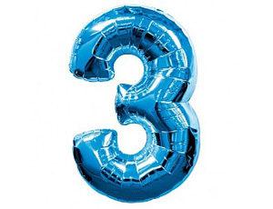 Шар фольгированный цифра три (синий)
