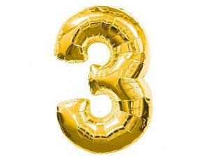 Фольгированный шар цифра три (золото)