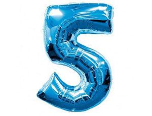Фольгированный шар цифра пять (синий)