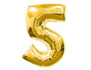 Фольгированный шар цифра пять (золото)