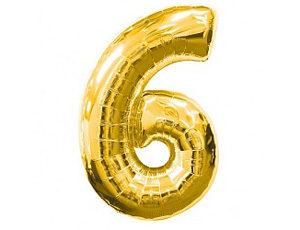 Фольгированный шар цифра шесть (золото)