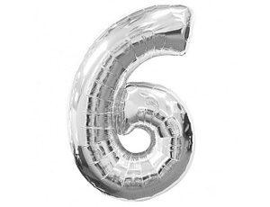 Фольгированный шар цифра шесть (серебро)