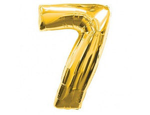 Фольгированный шар - цифра семь (золото)