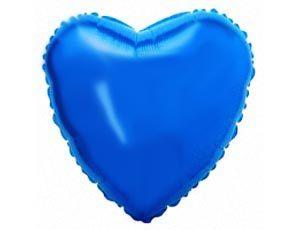 Шар с гелием — Сердце синее 18″