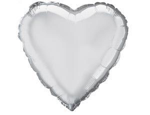 Шар с гелием — Сердце серебро 18″