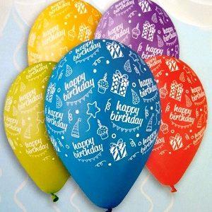 """Шары - """"HAPPY BIRTHDAY"""" пастель ассорти 12"""" (30см)"""