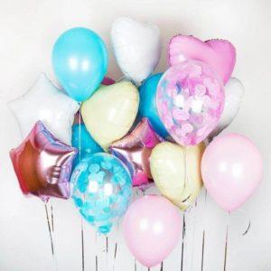 Букет №9 гелиевые шары фольгированных и латексных шаров