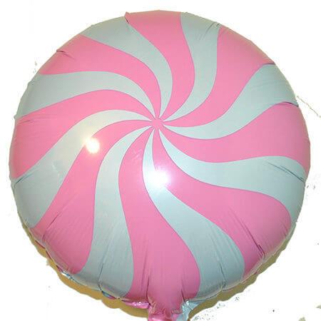 Шар с гелием — Круг спираль (розовая) 18″