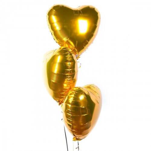 Фольгированные шары с гелием — Сердца (золото) 18″