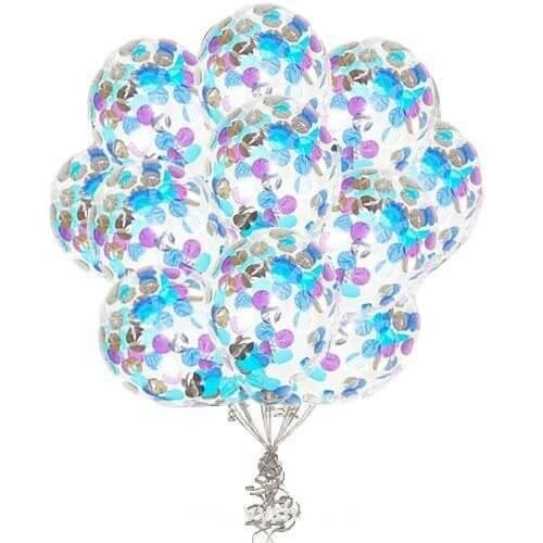 Латексные шары с конфетти — (сиреневые, голубые, синие) 12″