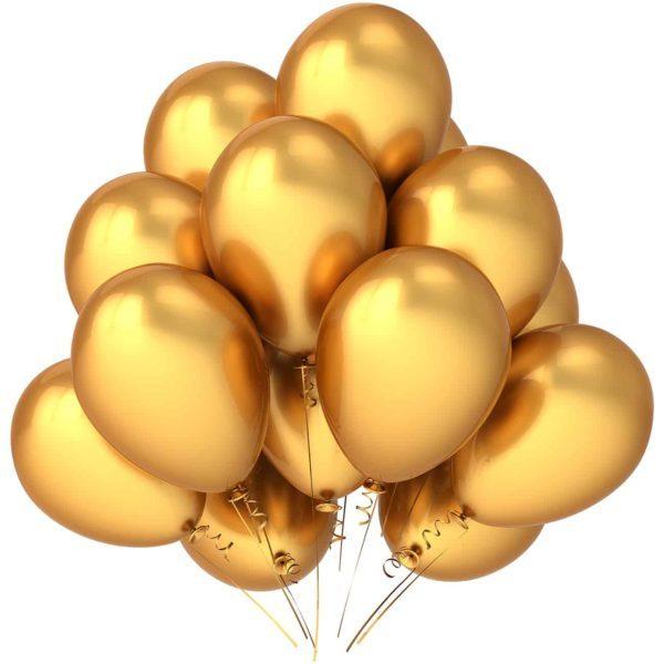 Латексные шары с гелием — Хром Золото