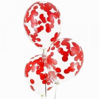 Латексные шары с конфетти — (красные)12″