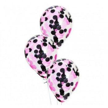 Латексные шары с конфетти —  (нежно розовые, черные)12″