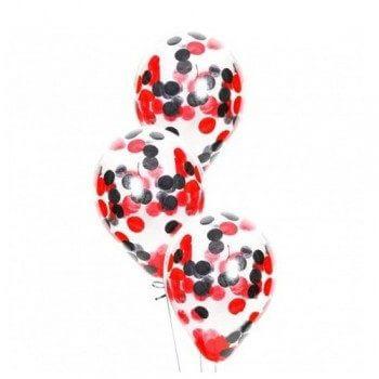 Латексные шары с конфетти — (черные, красные)12″