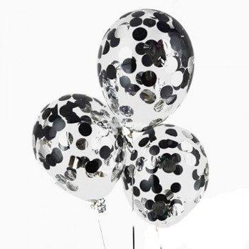 Латексные шары с конфетти — (черные, серебро) 12″