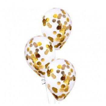 Латексные шары с конфетти — (золото)12″