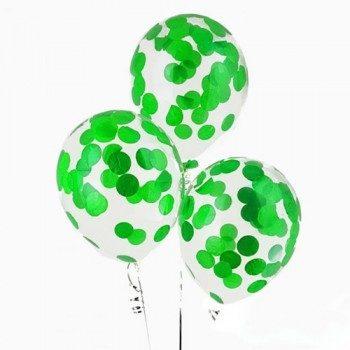 Латексные шары с конфетти — (зеленый)12″