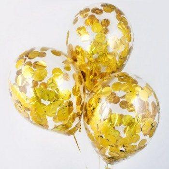 Латексные шары с конфетти — (крупный золото)12″