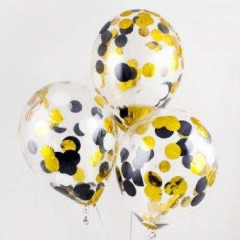 Латексные шары с конфетти — (черные , золото, серебро)12″