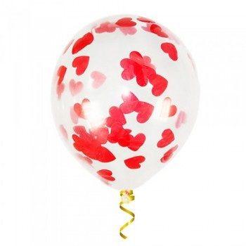 Латексные шары с конфетти — (красные сердца)12″