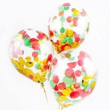 Латексрые шары с конфетти — (красные, золото, зеленые)12″