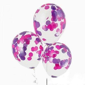 Латексные шары с конфетти — (розовые, сиреневые)12″